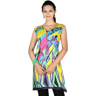 101 Cart fashion Cotton Printed Kurti in Multicolor with half sleeves [TTK9031B_2XL]