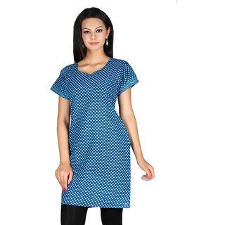 101 Cart fashion Cotton Printed Kurti in Blue with half sleeves [TTK9032D_L]