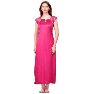 Boosah Pink Satin Plain Night Gowns  Nighty