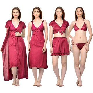 Boosah Red Satin Plain Nightwear Sets - (Pack of 6)