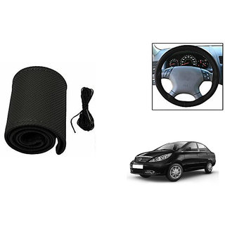 Himmlisch Leatherette Car Steering Wheel Cover Black For Tata Manza