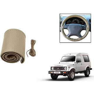 Himmlisch Leatherette Car Steering Wheel Cover Beige For Maruti Gypsy