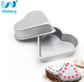 Silver Color Heart Shape Cake Mould/Moulds/Springfree cake Tin/CakePan - 18,20,22CM By WELLBERG Set of 2