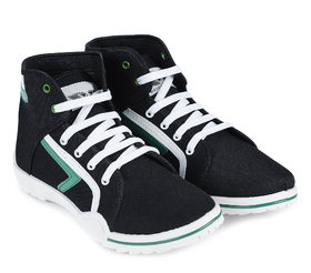 Vonc Ankle Length Black And Green Canvas Shoes