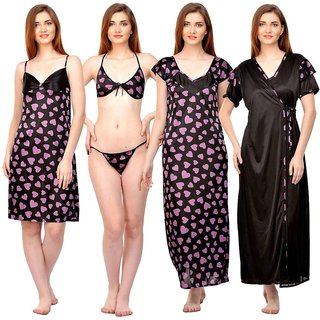 8dc66990434 Buy Boosah Multicolor Satin Printed Nightwear Sets - (Pack of 5 ...