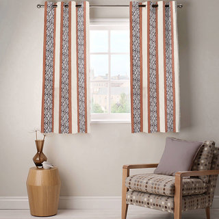 Sasha's Studio Set of 2 Designer Printed Window Curtains - Brown