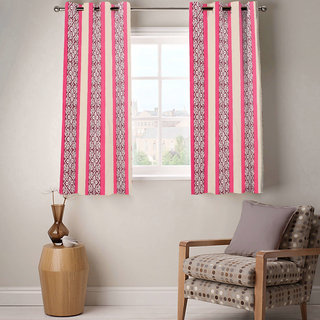 Sasha's Studio Set of 2 Designer Printed Window Curtains - Pink