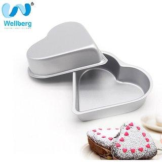Silver Color Heart Shape Cake Mould/Moulds/Springfree cake Tin/CakePan - 18 20 22CM By WELLBERG Set of 2