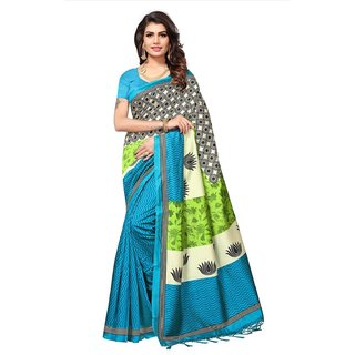 Swaron Women's Blue and Multi Colored Printed Casual Wear Poly Silk Saree