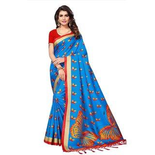 Swaron Women's Blue and Multi Colored Printed Casual Wear Art Silk Saree