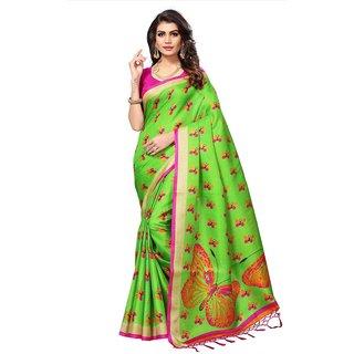 Swaron Women's Green and Multi Colored Printed Casual Wear Art Silk Saree