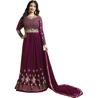 Ap Enterprise Women Designer Georgette Purple Embroidered Semi Stitched Long Anarkali Suit(ERTY10474purpleFree Size)