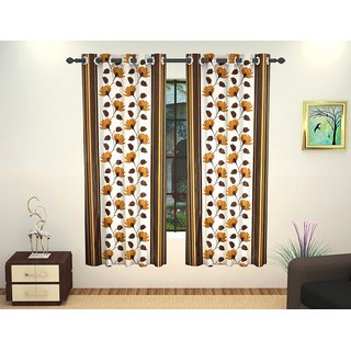 J.D. Handloom 1 Piece Polyester Window Curtain 5 Ft Coffee