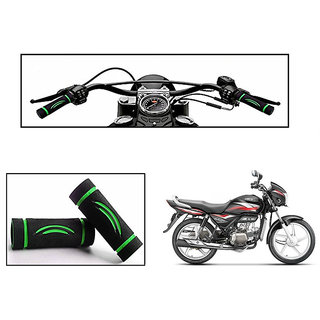 Himmlisch Bike Soft Comfort Riding Grip Covers Black&GREEN Wave Styles Set Of 2- For  Hero Splendor Plus i3s