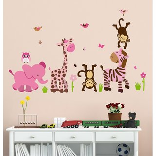 Wallstick  Happy Animals  wallsticker ( Vinyl 110 cm x 80 cm)