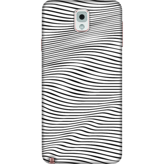 Galaxy Note 3 Case, Wavy Pattern in BW Slim Fit Hard Case Cover / Back Cover For Galaxy Note 3