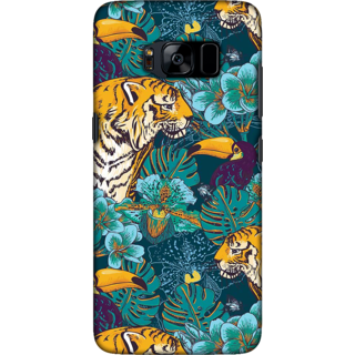 Galaxy S8 plus Case, Tiger and Toucan Illustration Slim Fit Hard Case Cover / Back Cover For Galaxy S8 plus
