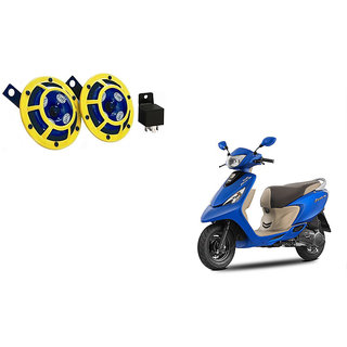Himmlisch Hella Yellow Panther Bike Horn Set Of 2 + Himmlisch Horn Relay -For  TVS Scooty Zest 110