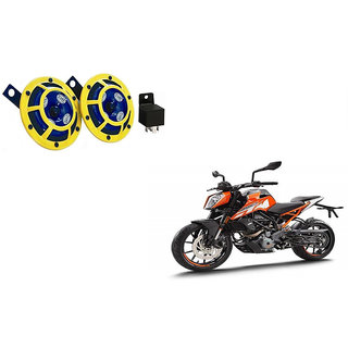 Himmlisch Hella Yellow Panther Bike Horn Set Of 2 + Himmlisch Horn Relay -For  KTM 250 Duke