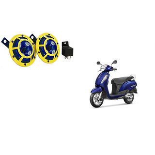 Himmlisch Hella Yellow Panther Bike Horn Set Of 2 + Himmlisch Horn Relay -For  Suzuki Access 125