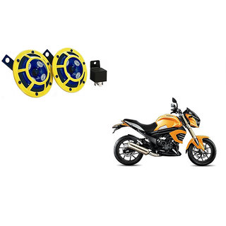 Himmlisch Hella Yellow Panther Bike Horn Set Of 2 + Himmlisch Horn Relay -For  Mahindra Mojo