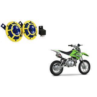 Himmlisch Hella Yellow Panther Bike Horn Set Of 2 + Himmlisch Horn Relay -For  Kawasaki KLX 110