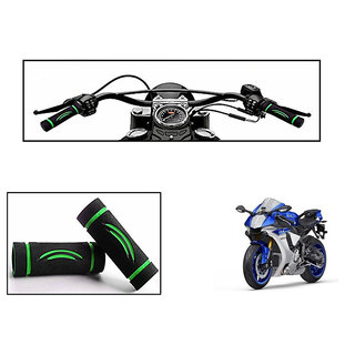 Himmlisch Bike Soft Comfort Riding Grip Covers Black&GREEN Wave Styles Set Of 2- For  Yamaha YZF-R1