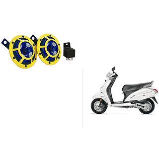 Himmlisch Hella Yellow Panther Bike Horn Set Of 2 + Himmlisch Horn Relay -For  Honda Activa 4G