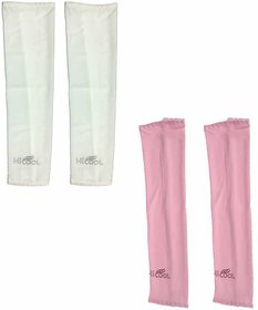 Hi-cool Arm sleeves for UV Sun Protection and sports - 2 Pairs(White  Pink Color)