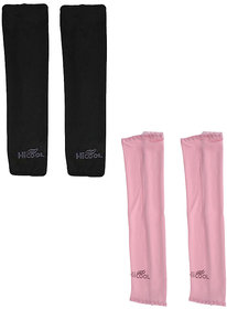Hi-cool Arm sleeves for UV Sun Protection and sports - 2 Pairs(Black  Pink Color)