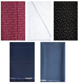 Kundan Sulz Gwalior Men's Executive 100% Pure Cotton Printed Shirt Piece & Navy Blue & Steel Grey Color Trouser Fabric ( 2 Pant and 3 Shirt Piece for Men )