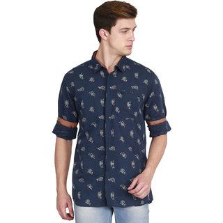 JDC Men's Casual Cotten Linen Shirt Navy S