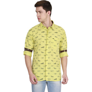 JDC Men's Casual Cotten Linen Shirt Yellow S