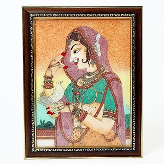 shoppingtara gift Cute Bani Thani With Pigeon Gemstone Painting