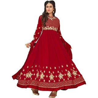 1f168a9f3c7d Ap Enterprise WomenDesigner Georgette Pink Embroidered Semi Stitched Long  Anarkali Suit (ERTY10477PinkFree Size)