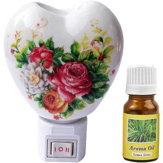 Cocodoes Electric Heart Ceramic Aroma Diffuser with Aroma Oil Night Lamp HOME DECOR SPA