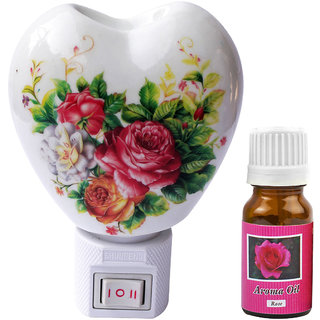 Cocodoes Electric Heart Ceramic Aroma Diffuser with Aroma Oil Night Lamp HOME DECOR SPA