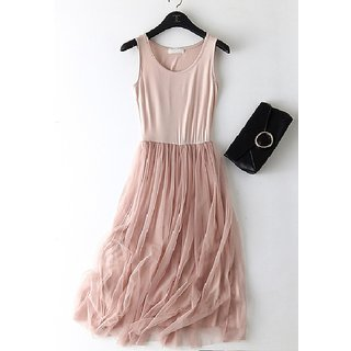 Women's Summer Viscose Net Pinkish Dress