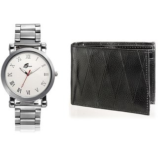 Arum Combo Of Silver Watch and Black Wallet