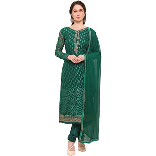 6ff96eef3f Swaron Women s Green Colored Georgette Brasso Semi Stitched Salwar Suit