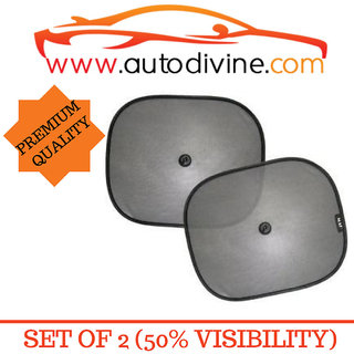 Premium Quality Vaccum Cup Sticky Car Sun Shade with 50 Visibity for Audi Q 7 (Set of 2 Sun Shade  2  Suction Cup )