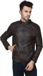 Amasree Dark Brown Plain Casual wear Pu Leather Jacket for Men and Boys