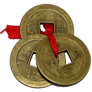 Yuvi Shoppe Feng Shui 3 Pcs Coin Set Showpiece - 2.5 cm