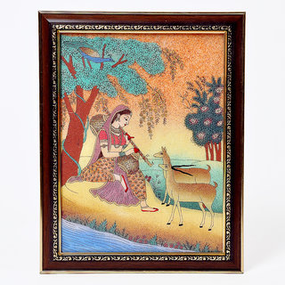 shoppingtara Meera Playing Sitar n Forest Gemstone Painting