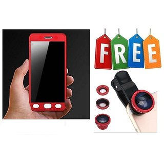 Samsung Galaxy J5 Prime 360 Degree Full Cover With Free Mobile Camera Lens - Red  - Super Value Combo Offer