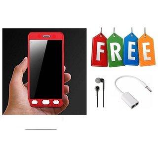 360 Degree Hybrid Front Back Cover Case For Samsung Galaxy J7 Prime + Earphone + Audio Splitter  - Super Value Combo Offer