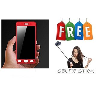 Vinnx 360 Degree Full Body Protection Front & Back Case Cover for Samsung Galaxy J7 Prime With Tempered Glass With Free Selfie Stick - Red  - Super Value Combo Offer