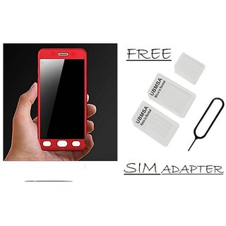 Vinnx 360 Degree Full Body Protection Front & Back Case Cover for Samsung Galaxy J7 Prime With Tempered Glass With Free Sim Adapter - Red  - Super Value Combo Offer