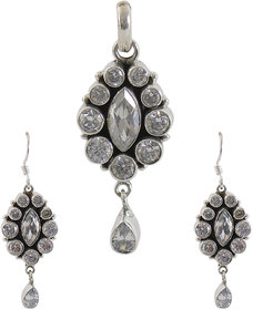 Silverwala 925 Sterling Silver Cubic Zirconia Stone Pendant Set for Women and Girls