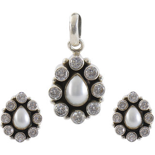 Silverwala 925 Sterling Silver Pearl and Cubic Zirconia Stone Pendant Set for Women and Girls
